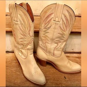 WOMENS FRYE WESTERN BOOTS CREAM LEATHER SIZE 8.5AA